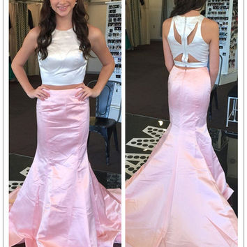 Two Piece Satin Mermaid Prom Dresses,Evening Dresses
