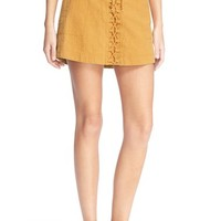 Free People 'Walk My Way' Lace-Up Linen & Cotton Miniskirt | Nordstrom
