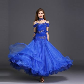 3f06eba22 Ballroom Dance Dress For Women Short Sleeve White Standard Dancing Dresses  Lady's Waltz Ballroom Competition Dance
