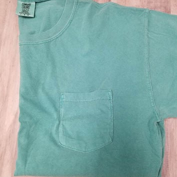 Adult Pocket T-Shirt - Comfort Colors - Seafoam
