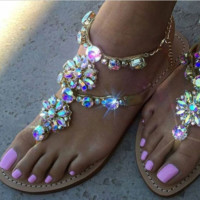 2017 Woman Sandals Women Shoes Rhinestones Chains Thong Gladiator Flat Sandals Chaussure Femme ete Plus Size 46 tenis feminino