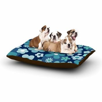 """Daisy Beatrice """"GROOVY BABY - INDIGO-MINT"""" Blue White Floral Pattern Mixed Media Vector Dog Bed"""
