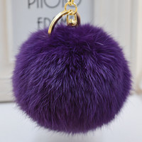 Pom Pom Key Chain Real Rabbit Fur Ball Keychain Plush Fur
