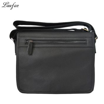 Men's genuine leather shoulder bag Cow leather messenger bag iPad genuine leather cross body bag casual flap bag