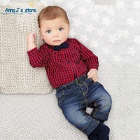 New red plaid t-shirts + jeans boys clothing set clothes boy clothing set