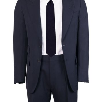 Tom Ford Navy Wool Tonal Pick Stitched Two Piece Suit