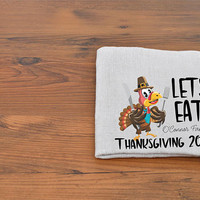 Personalized Lets EAT! Thanksgiving Napkins, Linen Square - Add Family Name - Thanksgiving Hostess Gift.