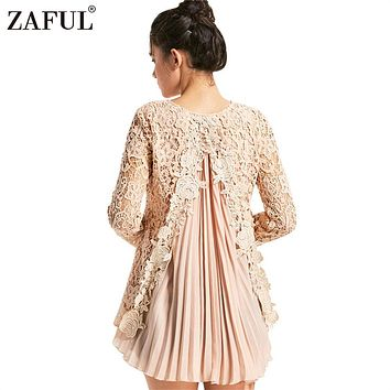 ZAFUL Long Sleeve Pleated Lace Blouse Women Tops Blouses Female Shirts Feminine Cuff Femme Pleated Tunic Blouse Shirt Women