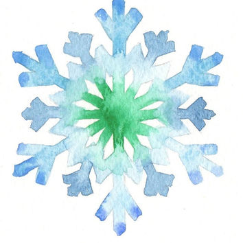 Original watercolor Christmas Card - Snowflake
