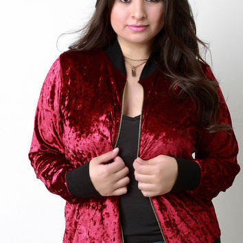 Crush Velvet Rib Knit Trim Bomber Jacket