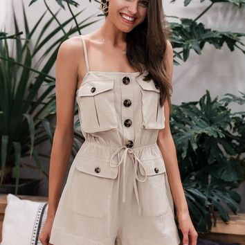 Button Front Drawstring Romper