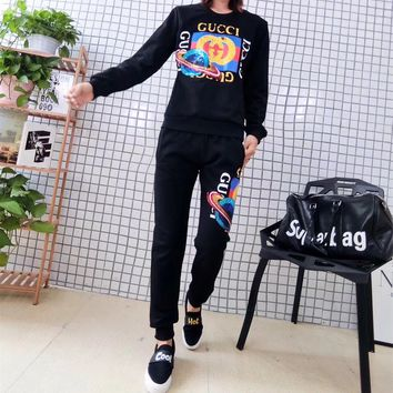 """Gucci"" Women Fashion Sequins Planet Letter Pattern Print Sweater Long Sleeve Trousers Set Two-Piece Sportswear"