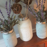 Rustic mason jars, painted mason jar with frog lid, wedding centerpieces, mason jar vases, rustic table decor,  centerpieces, blue and white