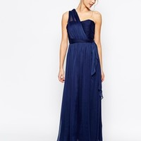 True Decadence Wrap One Shoulder Maxi Prom Dress