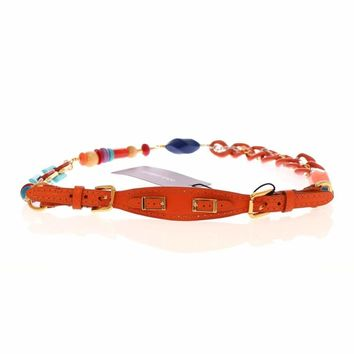 Dolce & Gabbana Orange Leather Multicolor Beaded Belt
