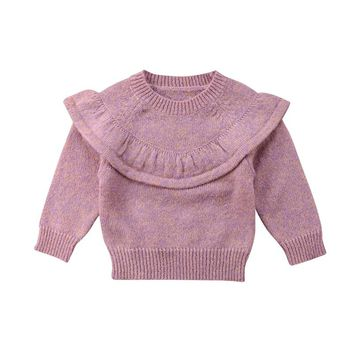 Cute Baby Girls Knitted Crochet Sweater Winter Warm Clothes Jumper Toddler Baby Girl Kids Ruffles Long Sleeve Sweaters Tops