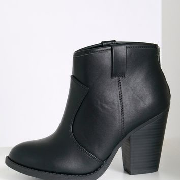 Faux Leather Ankle Boots Black