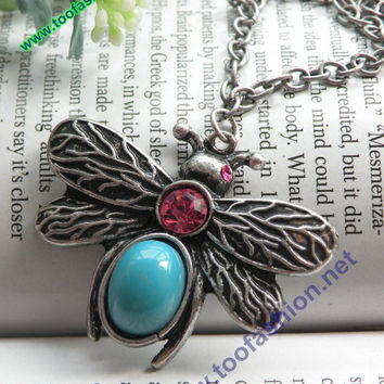 Pretty retro silver bee with blue stone pink by toofashion2010
