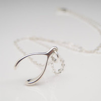 Sterling Silver Wishbone Charm Necklace Small by dsignzbyrosie