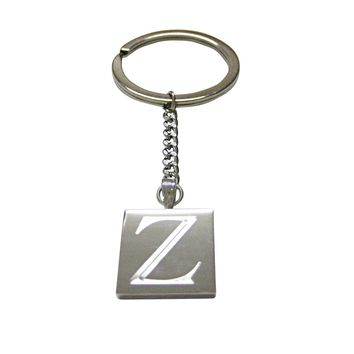 Letter Z Etched Monogram Pendant Keychain