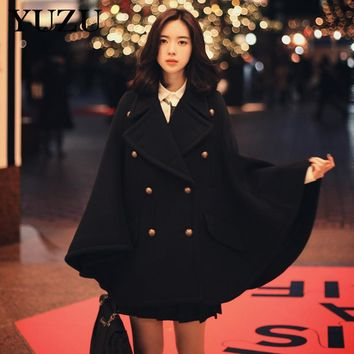 Cloak Winter Black Wool Poncho Cape Coat Vintage England Double Breasted Batwing Sleeve Warm Long Coat Office Party Elegant Coat