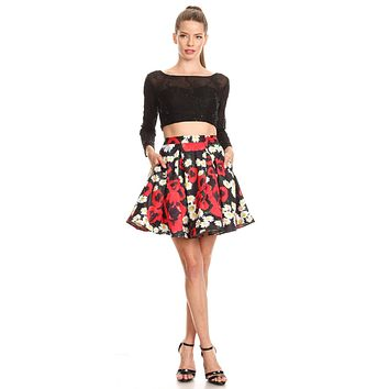 Black Long Sleeves Two-Piece Short Prom Dress Floral Skirt with Pockets