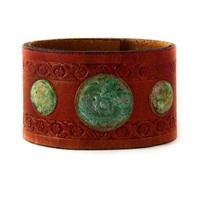 Metal Patina Vintage Leather Cuff Wristband Handmade by rainwheel