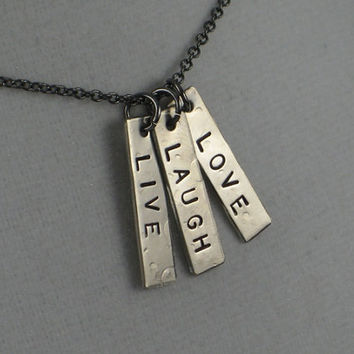 LIVE LAUGH LOVE Inspirational Necklace on 18 inch by TheRunHome