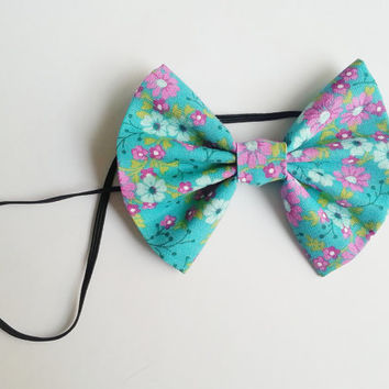 Purple and Teal Floral Headband, Small Hairbow Headband, Toddler Headband, Baby Headband, Spring Headband