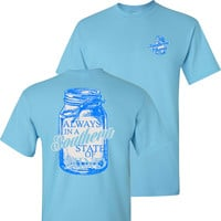 Southern Charm Mason Jar Southern State of Mind Short Sleeve Sky Blue T Shirt
