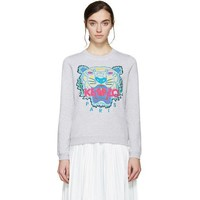 DCCKN7G Kenzo Women Tiger Embroidery Long Sleeve Top Sweater Pullover
