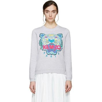 ONETOW Kenzo Women Tiger Embroidery Long Sleeve Top Sweater Pullover