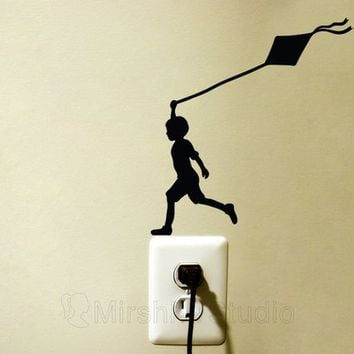 Boy flying kite Light Switch Sticker - Childrens Bedroom Decal - Kids Room Wall Decor - Kids Silhouette Nursery Wall Art - Bedroom Artwork