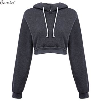 Gamiss Woman Crop Hoodies 2016 Autumn Chic Lace Up Long Sleeve Pullover Sweatshirt Women Crop Top Girls Black Sudaderas Mujer