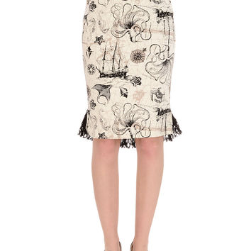 Deep Sea Odyssey Victorian Pencil Skirt