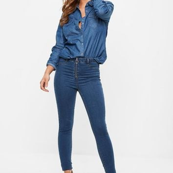 Missguided - Blue Lawless High Waisted Ring Pull Skinny Jeans