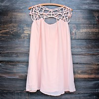 caged up flowy chiffon dress in almond