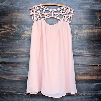 final sale - caged up flowy chiffon dress in almond