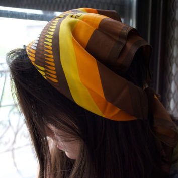 Vintage 60s PAOLI Orange Yellow Brown Stripe Abstract Printed Silk Square Head Scarf / Headscarf Neckerchief Neck Tie Bandana Hair Wrap