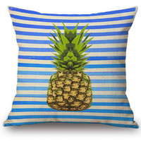 Factory Supply Colorful Fruit Pineapple Printing Linen Cotton Throw Pillow Living Room Decor Chair Seat Back Cushion