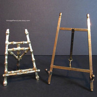 2 Vintage Easel Stands, Brass Easels, Frame Display Stands