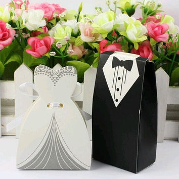 Bride and Groom Suit wedding candy boxes sweet box Favor Boxes wedding Gift Favors with Ribbon = 1930154692