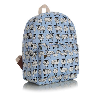 Casual Canvas Korean Blue Stylish Fashion Backpack [4906554308]