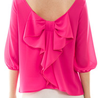 Hot Pink Parisian Bow Blouse
