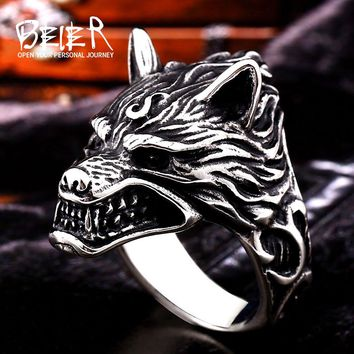 Beier new store 316L Stainless Steel ring top quality Game Of Throne House Stark of Winterfell Direwolf Wolf Ring  BR8-160