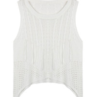 White Cut Out Hi Lo Knitted Vest