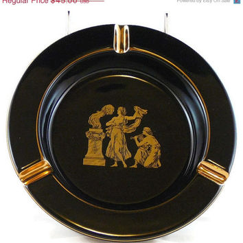 On Sale Vintage 24k Gold and Black Ashtray / Footed Ceramic Ashtray / With a Greek Scene / Made in Italy