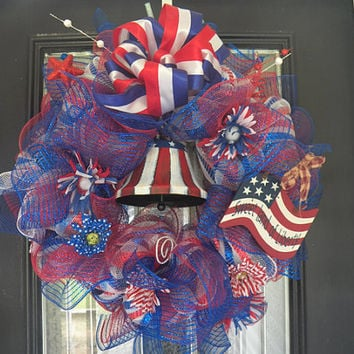 Deluxe Patriotic Deco Mesh Wreath, Door Hanger, Decoration Ready to Ship