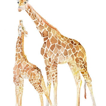Giraffes Mother and Baby Watercolor