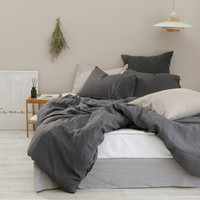 Washed Charcoal / Dark Gray Colored Linen Soft Twin / Queen Size Bedding Set